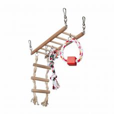 Мост дерев. подвесной с канатами д/грыз. 29*25*9см