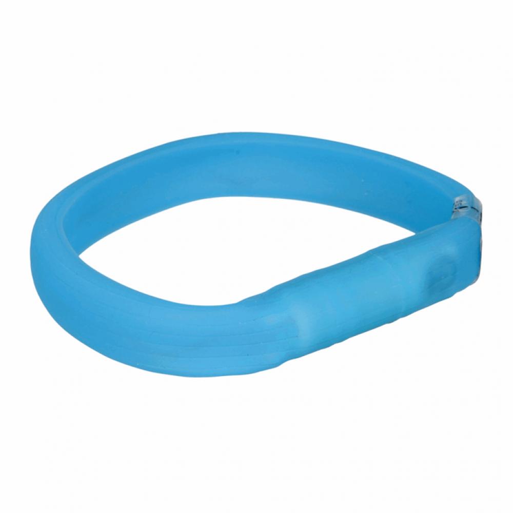 Ошейник светящийся с USB силикон широкий синий M-L 50cм/30мм