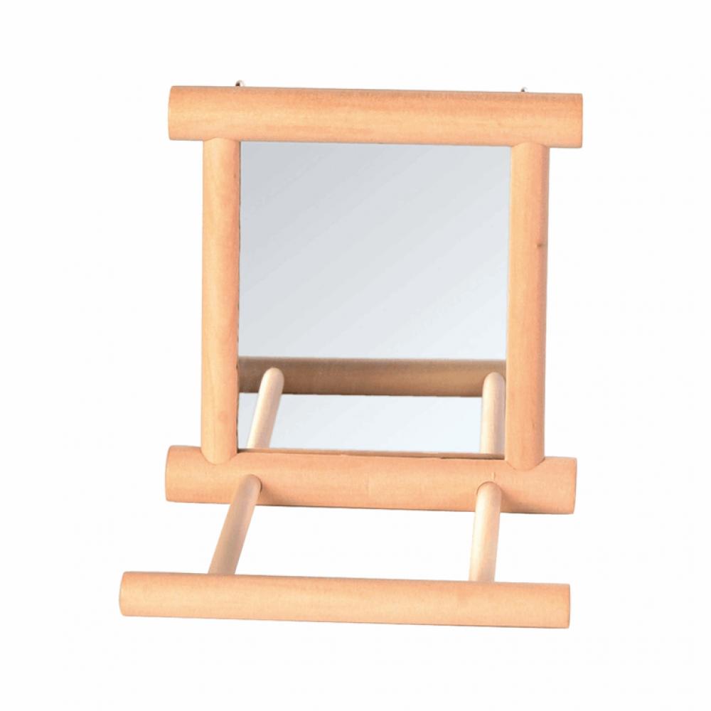 Зеркало с перекладиной дерев. для попугая 9*9см