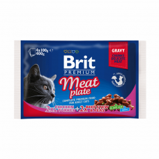 Brit Premium Cat pouch 4шт х 100g мясная тарелка