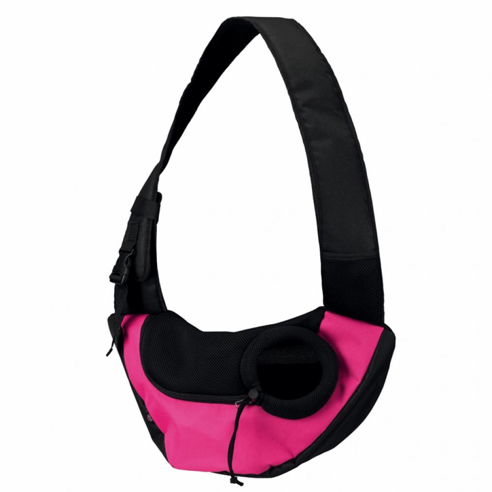 Сумка-переноска «Sling Front Bag», 50x25x18 см, текстиль, розовая/черная