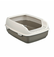 Туалет для котов «Delio» с высокой рамкой 35x20x48 см тауп/крем