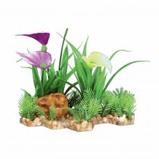 Растение пластик. на каменной подложке 13см