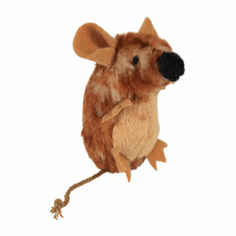 Мышка плюш. коричневая с пищалкой 8см