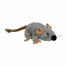 Мышка плюш. серая с мятой 7см