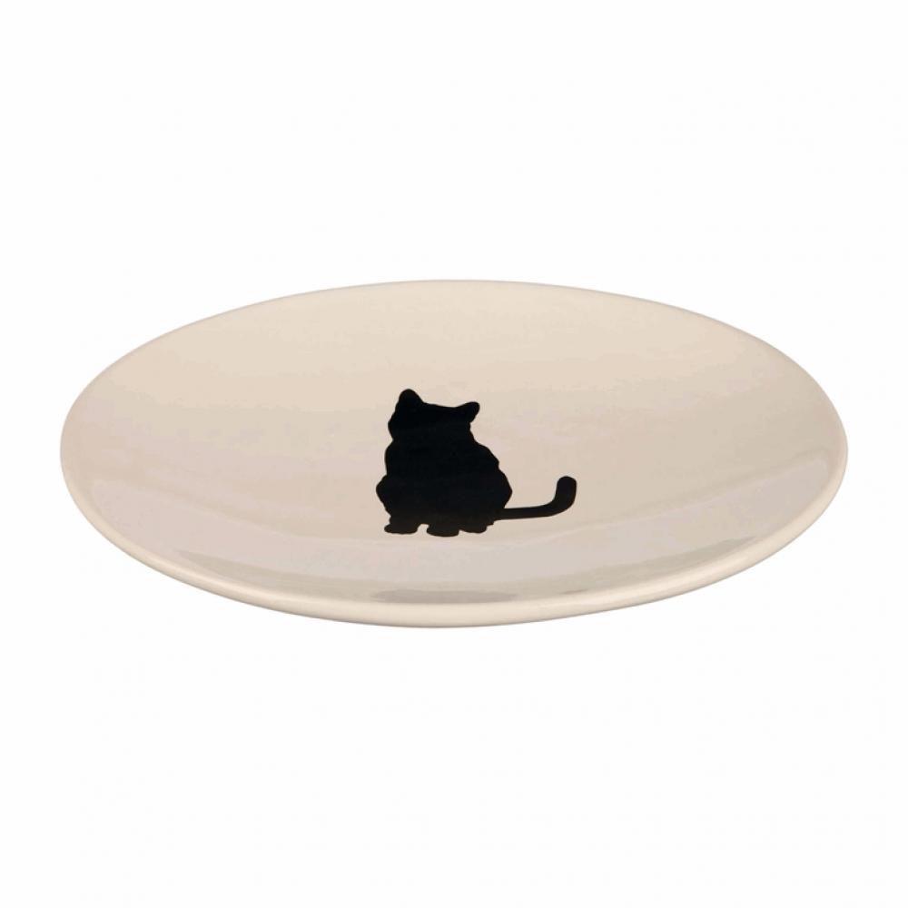 Миска керам. д/кот. плоская белая с кошкой 18*15см