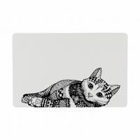 Коврик Zentangle под миски д/котов 44*28см белый/черный
