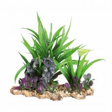 Растение пластик. на каменной подложке 18см